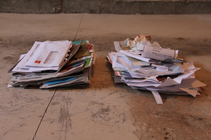 Left is junk mail and right is household papers.
