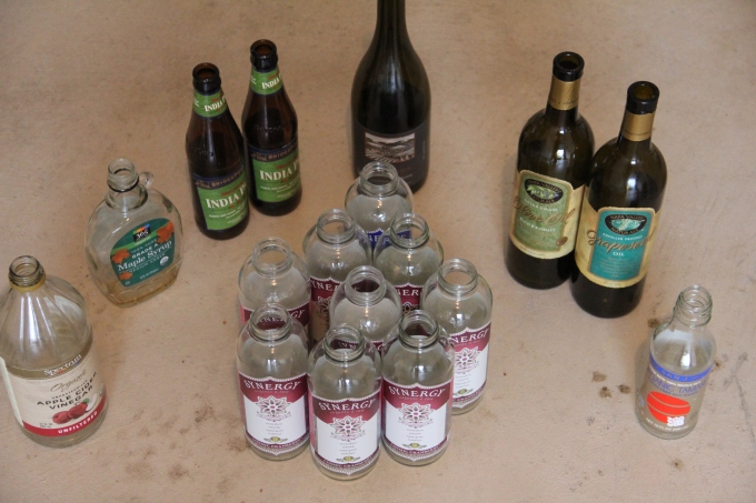 Glass items for recycling. Now do you see why I started making my own kombucha?