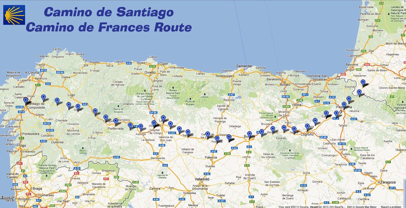 CAMINO FRANCES MAP   Recana Masana