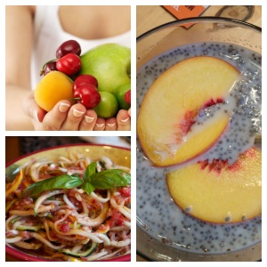 Fruit is a great snack anytime, raw pasta and chia pudding