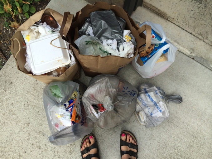 6 days of trash for 4 adult guests