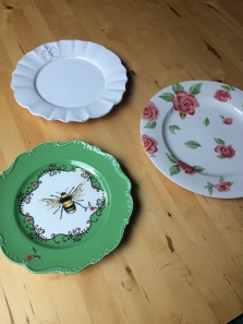 Plates that went to a garden wedding