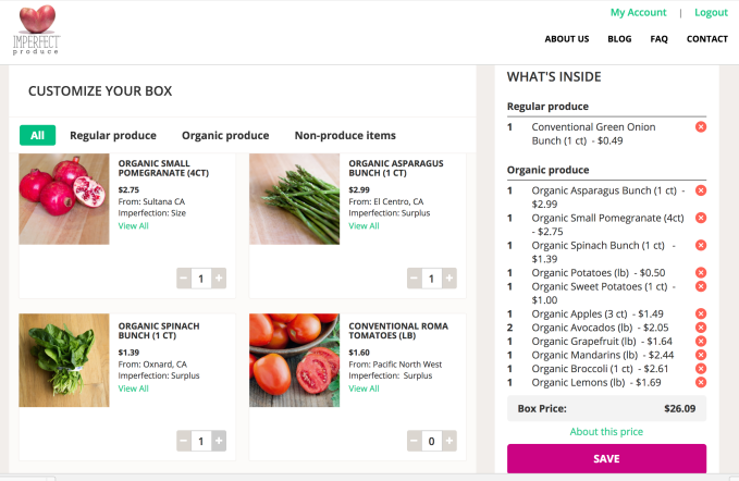 Imperfect Produce Checkout cart